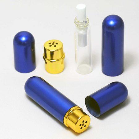 Glas-Aluminium Inhalierstift Blau